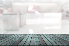 Empty wooden board space platform with register counter blurry b royalty free illustration