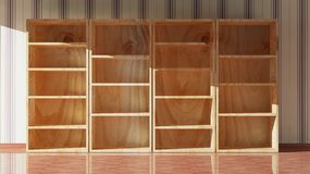 Empty wooden bookcase Stock Photography