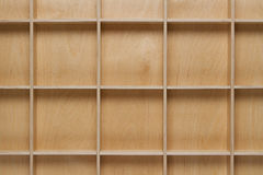 Empty wooden bookshelf Stock Images