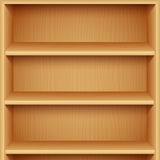 Empty Wooden Bookshelves Stock Image