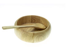 Empty wooden bowl and soup spoon isolated on white background Royalty Free Stock Image