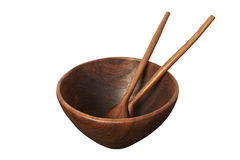 Empty wooden bowl with spoon and fork Royalty Free Stock Photo