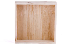 Empty wooden box. On white background royalty free stock photos