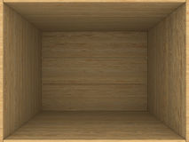 Empty wooden box. 3D image Stock Photography