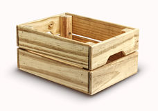 Empty wooden box isolated on white Royalty Free Stock Photo