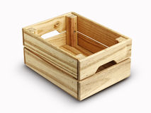 Empty wooden box isolated on white Royalty Free Stock Image