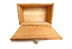 Empty Wooden Box Lying With Lid Open Toward Viewer Royalty Free Stock Photos