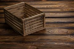 Empty wooden box on wooden background Royalty Free Stock Photo