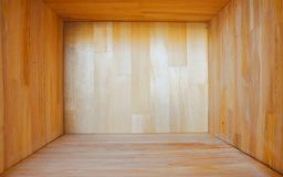 Empty wooden box. For Placing objects stock photography