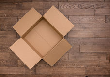 Empty wooden box on the table Royalty Free Stock Image