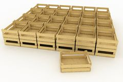Empty wooden boxes Stock Images