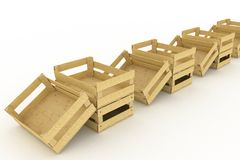 Empty wooden boxes. Containers for fruits and vegetables Stock Photos