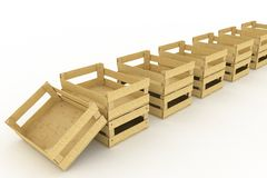 Empty wooden boxes. Containers for fruits and vegetables Stock Photography