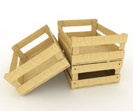 Empty wooden boxes. Containers for fruits and vegetables Royalty Free Stock Photos