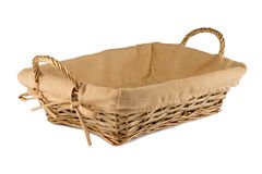 Empty wooden  bread basket  on white background. Empty wooden fruit or bread basket  on white background Stock Images