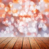 Empty wooden bridge and Bokeh background Royalty Free Stock Image