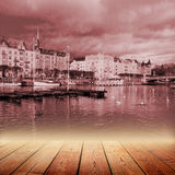 Empty wooden bridge and Scenic summer panorama of the Old Town Royalty Free Stock Photo
