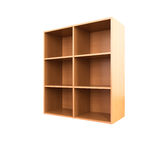 Empty wooden cabinet isolated on white Royalty Free Stock Photo