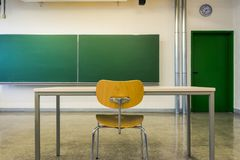 Empty Wooden Chairs at Tables Depth of Field Lecture Hall Nobody Stock Photo