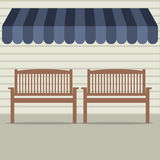 Empty Wooden Chairs Under Awning Royalty Free Stock Image