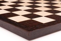 Empty wooden chess board Stock Photos