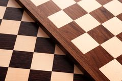 Empty wooden chess board Stock Photo
