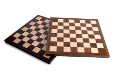 Empty wooden chess board Stock Image