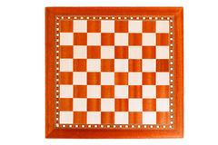 Empty wooden chessboard Stock Photo