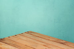 Empty Wooden Corner Table Over Mint Wall Background For Product Montage  Stock Photography