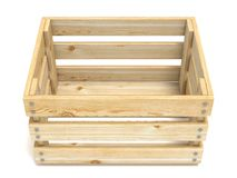 Empty wooden crate. Front view. 3D Royalty Free Stock Images
