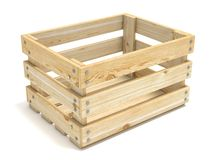 Empty wooden crate. Side view. 3D Royalty Free Stock Photos