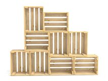 Empty wooden crates arranged 3D. Render illustration isolated on white background Stock Image