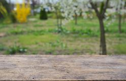 Empty wooden deck table Royalty Free Stock Photography