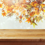 Empty wooden deck table over autumn leaves bokeh background. For product montage display stock images