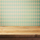 Empty wooden deck table over bavarian pattern wallpaper. Oktoberfest beer festival concept Stock Photography