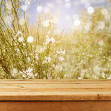 Empty wooden deck table over blurred bokeh summer flowers background for product montage. Display Stock Photo