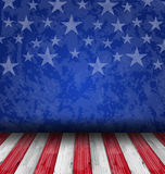 Empty wooden deck table over USA flag background Stock Photos