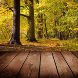 Empty wooden deck table in the park. Royalty Free Stock Image