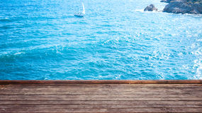 Empty wooden deck table Stock Photo