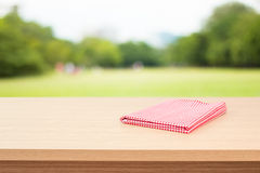 Empty wooden deck table Royalty Free Stock Images