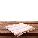 Empty wooden deck table with tablecloth Stock Photo
