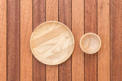 Empty Wooden Dish And Small Bowl On Wooden Table Royalty Free Stock  Photography