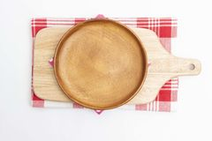 Empty wooden dish and wooden cutting board royalty free stock images