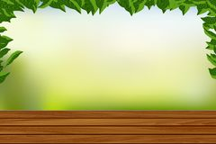Empty Wooden Floor with Nature Background Vector illustration vector illustration