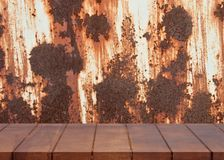 Empty wooden floor. rust on metal surface background Royalty Free Stock Photography