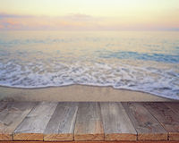 Empty wooden flooring against a summer decline. Royalty Free Stock Images