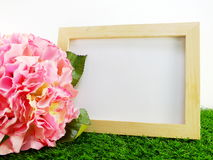 Empty wooden frame with flower on green background Royalty Free Stock Images