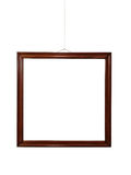 Empty wooden frame on wall Royalty Free Stock Image
