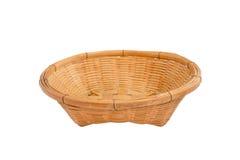 Empty wooden fruit basket on white background Stock Photos