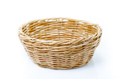 Empty wooden fruit or bread basket on white background Royalty Free Stock Photos
